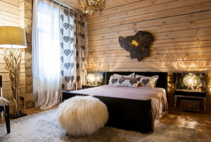 homey rustic bedroom with natural wood decor