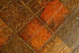 An antique, tin ceiling.