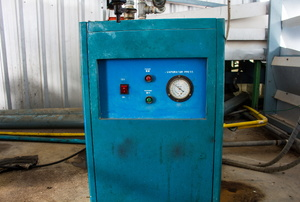 A blue swamp cooler.
