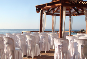 chairs lined up for an outdoor wedding
