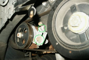 power steering belt in a car engine
