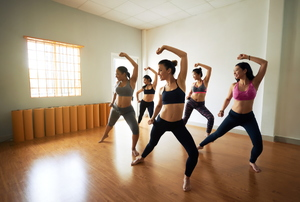 Women dancing in a studio