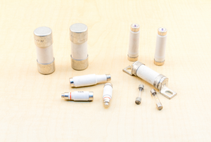a variety of cartridge fuses on a counter