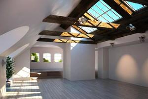 A hallway of a modern home, lighted by a long skylight.