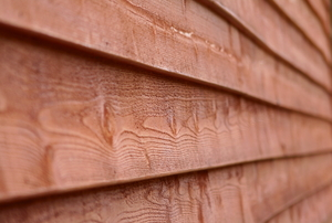redwood-colored siding