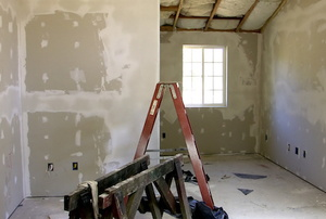 Drywall in a room.