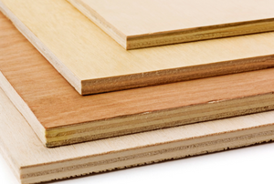 four types of plywood in a pile