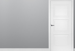 white wooden door on gray background