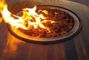 flames rising from a fire pit