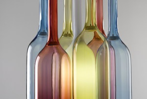 Several colored glass bottles