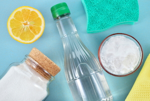 A grouping of ingredients to make homemade cleaners.