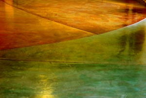 A colorfully stained concrete floor.