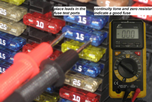 Probes from a continuity tester touching a fuse in the fuse panel.