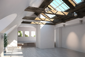 White room with several large skylights