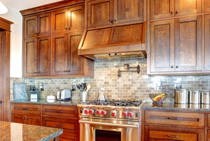 Wood kitchen cabinets.