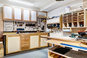 workshop garage with custom cabinets