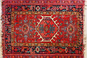Red oriental rug with fringe