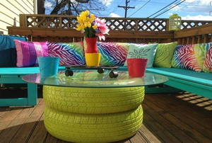 pallet deck and painted backyard furniture