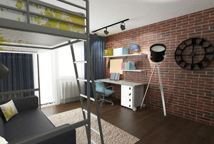 A loft bed in an apartment or dorm room with a brick wall.