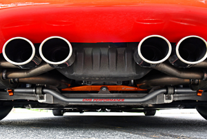 exhaust pipes on the back of a red car