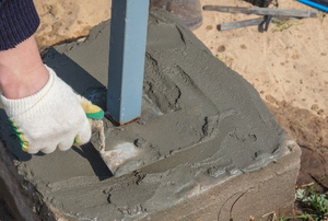 A cement block.