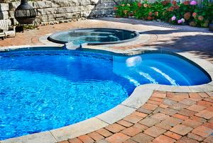 outside blue pool