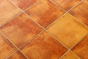 a terracotta tile floor