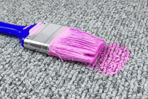 pink paint stain from a paintbrush on carpet