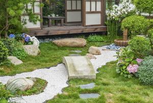 An oriental garden.