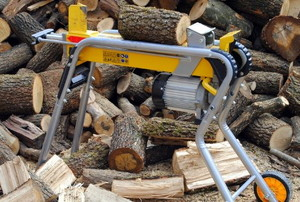 log splitter and pile of wood