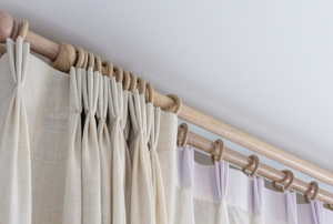 drapes with wooden rings