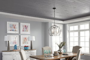 Wooven charcoal gray ceiling.