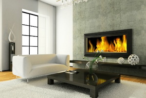 A modern living room with a large gas fireplace.