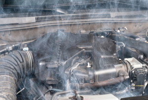 an overheating car engine