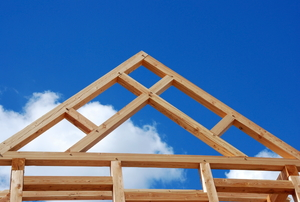 Timber-frame construction of a roof truss.