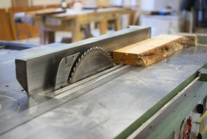 Board on a table saw