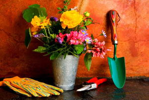 Spring gardening essentials, including cut flowers, gardening gloves, pruners and a trowel.