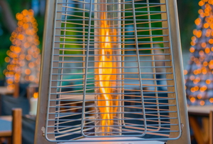 patio heater burning natural gas flame