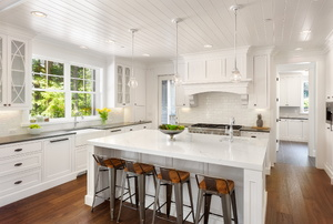 A modern white kitchen.