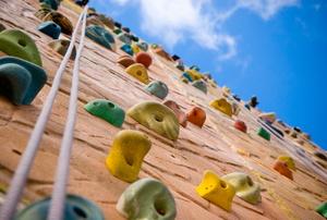A rock climbing wall.