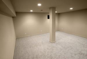 carpeted basement
