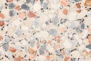 A close up on terrazzo floors.