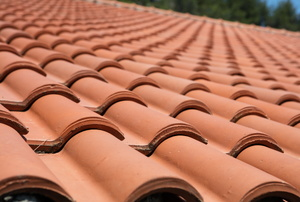 Curved clay roof tiles.
