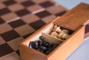 A wood chess set.