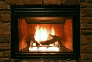 lit gas fireplace