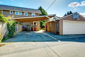 A detached garage.