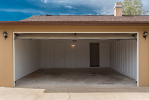 An open and empty garage.