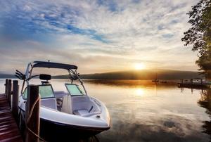 An aluminum boat.
