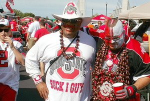 Ohio State Buckeyes fans tailgating in the parking lot