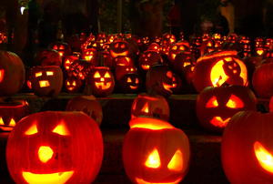 Glowing pumpkins at night.